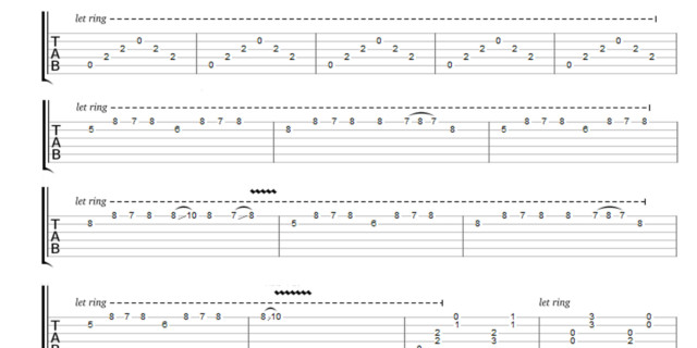 Guitar u00bb Unravel Guitar Tabs - Music Sheets, Tablature, Chords and Lyrics